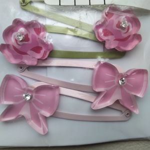 4 Gymboree Rose Bows pink rhinestone Hair Clips NE